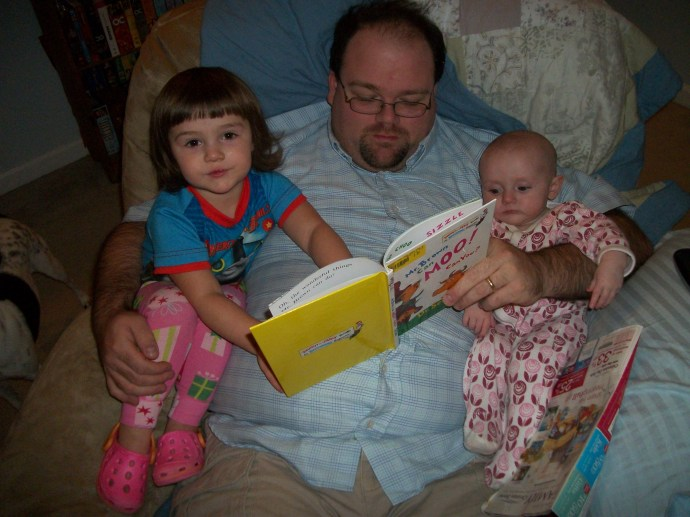Katie, Violet and Daddy